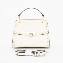 Kelly Stud Korean Bag, stylish cantik. Good quality. Bisa tenteng dan tali panjang selempang. Warna broken white. Uk 24x11x16